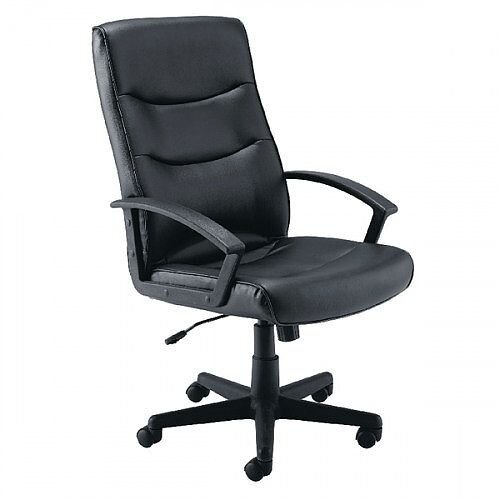 Hudson Leather Look Executive Managers Office Chair Black - Weight Capacity Of 18 Stone. 5 Star Castor Base &Fixed Arms. Ideal For Use In Offices, Homes, Schools, Colleges &More.