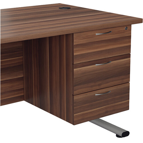 Jemini Walnut 3 Drawer Fixed Pedestal KF78940