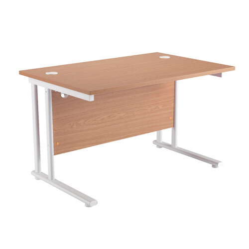 1200mm Wide White Leg Rectangular Office Desk in Beech With Cable Ports - Cable Management System, 25mm Desktop &Metal-To-Metal Fittings (KF838897)