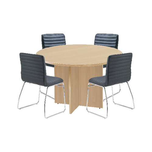 First Maple 1200mm Diameter Round Meeting Table with Dart Meeting Chairs