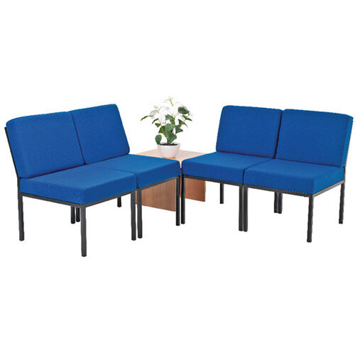 First Reception Modular Seating Bundle Blue and Coffee Table Light Oak KF839237