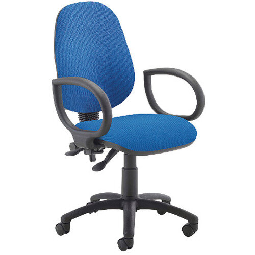 First High Back Operators Office Chair Blue with Fixed Arms KF839243