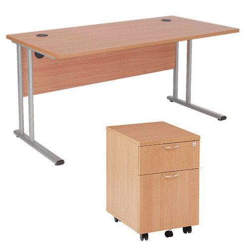 BUNDLE OFFER Rectangular 1600mm Wide Office Desk in Beech With 2 Drawer Pedestal – Cable Management, Floor Levellers, 25mm Thickness &Cantilever (KF839246)