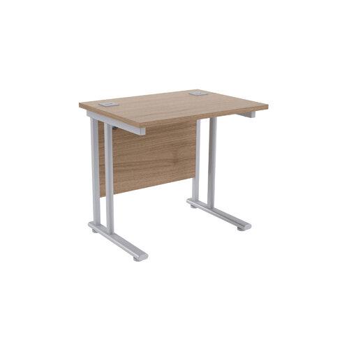 Jemini Grey Oak/Silver 800mm Rectangular Office Desk KF839510