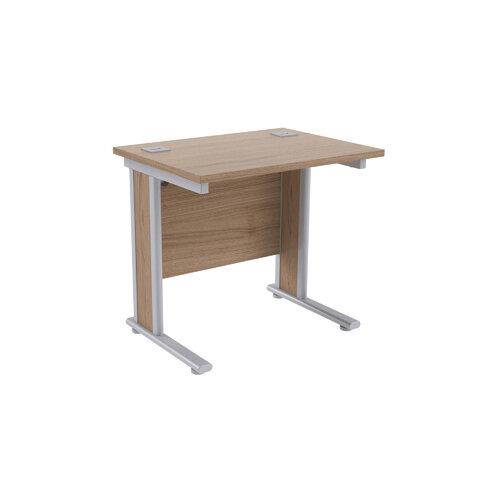 Jemini Grey Oak/Silver 800mm Rectangular Office Desk KF839522