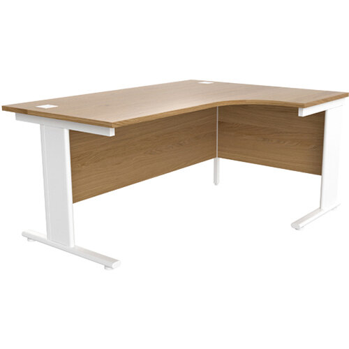 Jemini Oak/White 1600mm Right Hand L-Shaped Radial Cantilever Office Desk KF840098