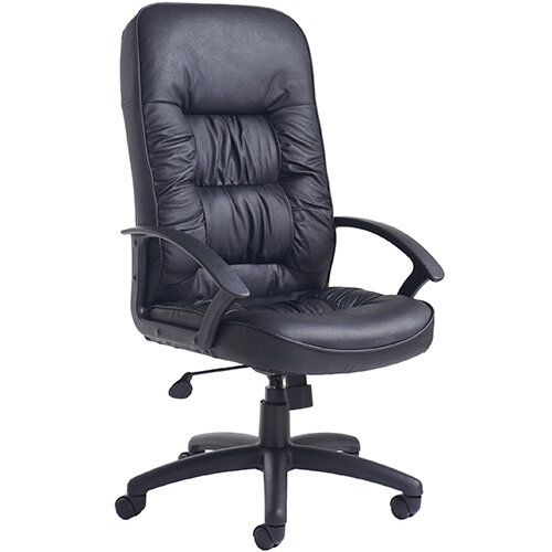 King high back managers chair - black leather faced