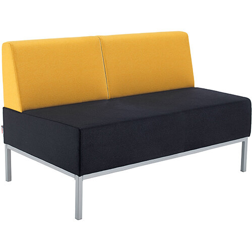 Kraft modular soft seating double bench with double back fully upholstered - made to order