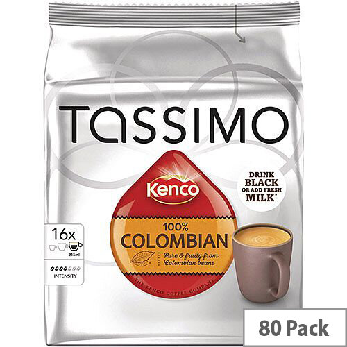 Tassimo T-Discs Kenco Columbian Coffee 16x5 Sleeves (Pack of 80 Capsules) - Makes 80 Drinks