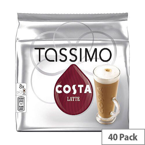 Tassimo T-Discs Costa Latte Coffee 8x5 Sleeves (Pack of 40 Capsules) - Makes 40 Drinks