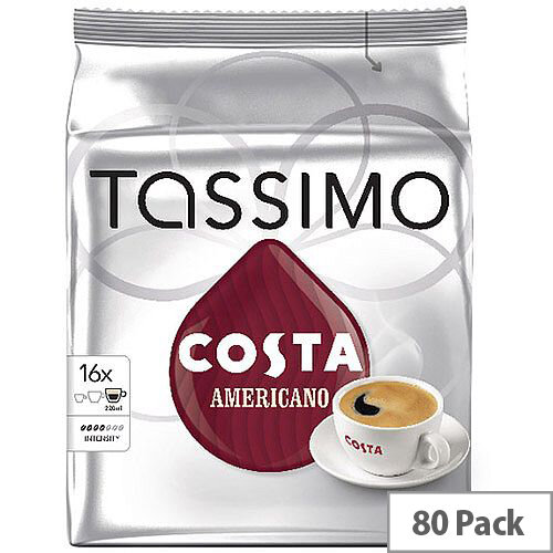 Tassimo T-Discs Costa Americano Coffee Pods 16x5 Sleeves (Pack of 80 Capsules) - Makes 80 Drinks - Specially Crafted Blend Coffee Beans, Dark Roasted, Full Bodied with a Fine Crema on Top