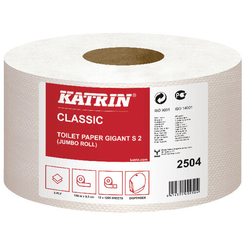 Katrin Mini Jumbo 2Ply Toilet Roll Pack of 12 2504