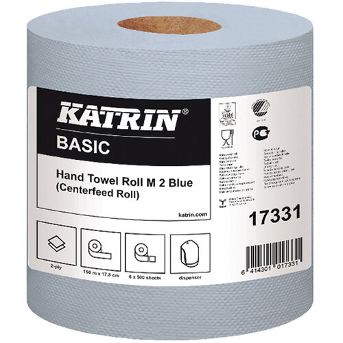 Katrin White Centrefeed 2 Ply Hand Towel Blue Pack of 6 17331