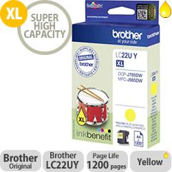 Brother LC22UY Yellow Super High Yield Inkjet Cartridge LC-22U