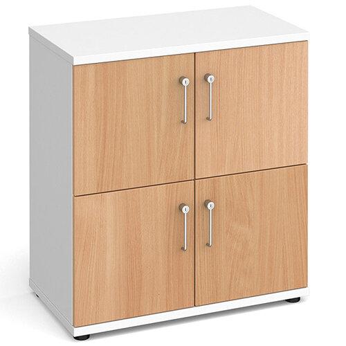 Wooden storage lockers 4 door - white with beech doors
