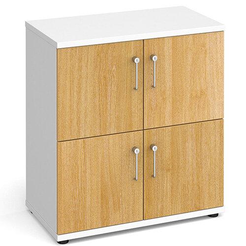 Wooden storage lockers 4 door - white with maple doors