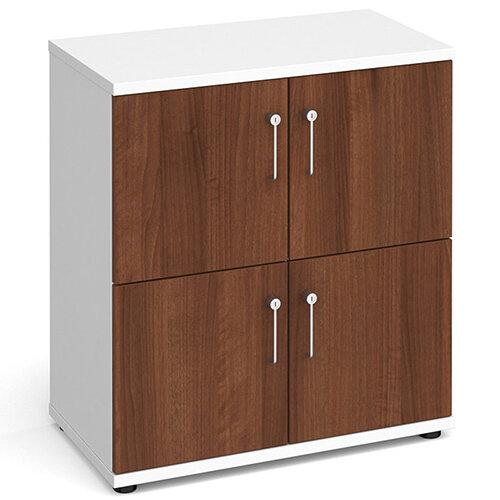 Wooden storage lockers 4 door - white with walnut doors