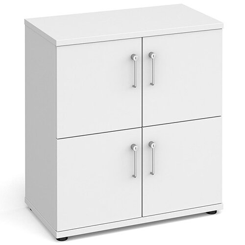 Wooden storage lockers 4 door - white with white doors