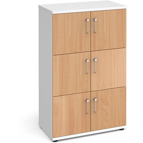 Wooden storage lockers 6 door - white with beech doors