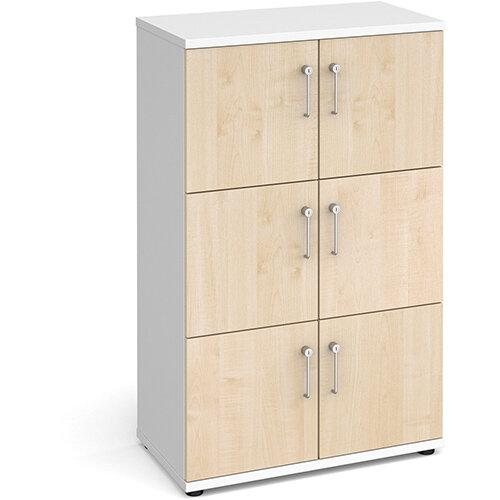 Wooden storage lockers 6 door - white with maple doors