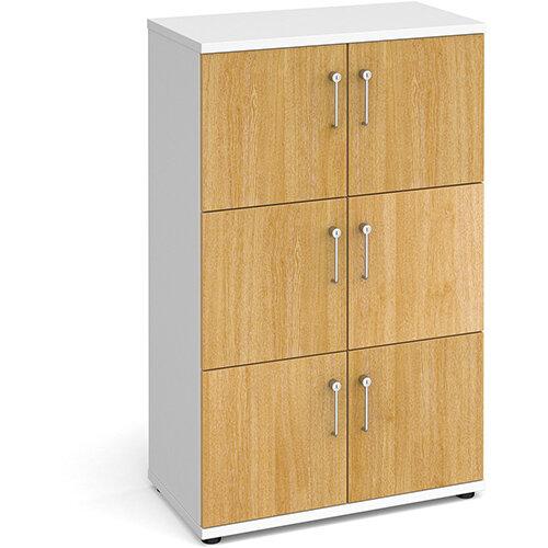 Wooden storage lockers 6 door - white with oak doors