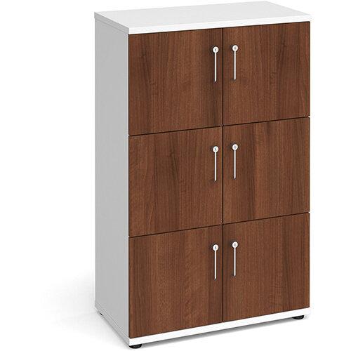 Wooden storage lockers 6 door - white with walnut doors