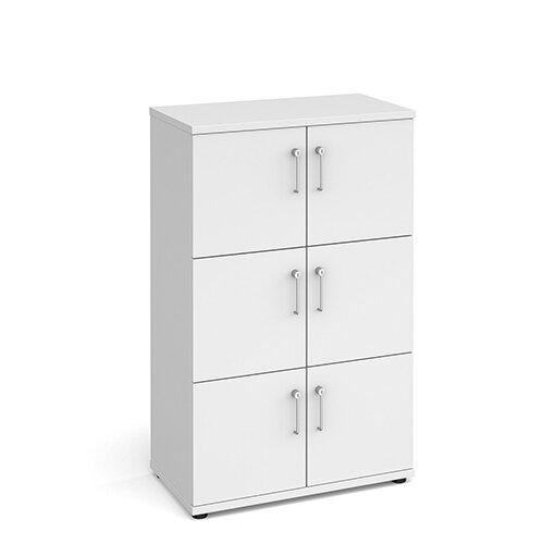 Wooden storage lockers 6 door - white with white doors