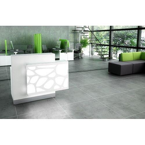 Organic Modern Illuminated White Straight Reception Desk with Left Decorative Element W1300mmxD770mmxH1105mm