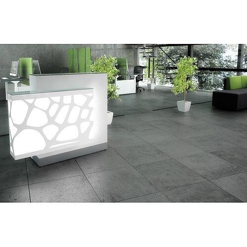 Organic Modern Illuminated White Straight Reception Desk with Right Decorative Element W1300mmxD770mmxH1105mm