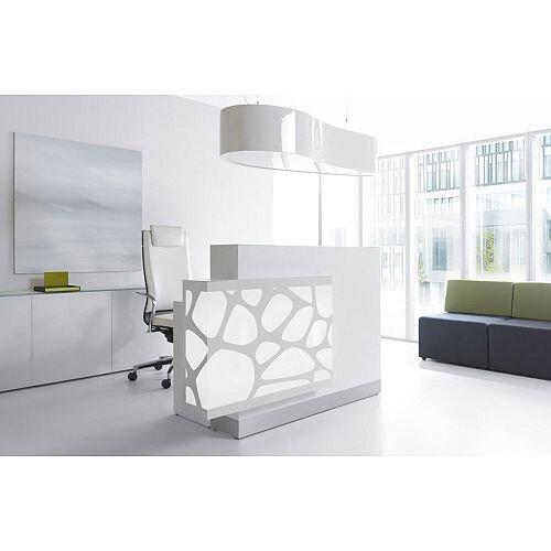 Organic Modern Illuminated White Straight Reception Desk with Right Decorative Element W1700mmxD770mmxH1105mm