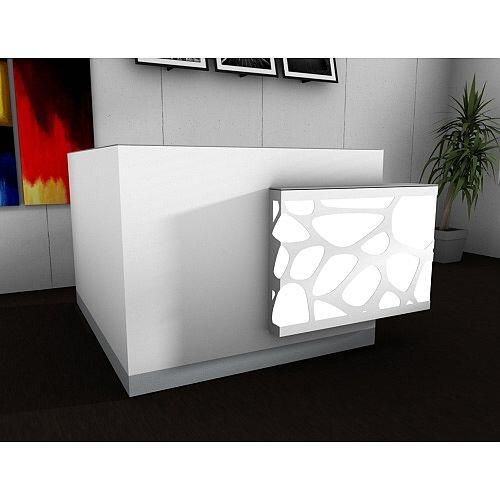 Organic Modern Illuminated White Corner Reception Desk with Left Decorative Element W1700mmxD1770mmxH1105mm
