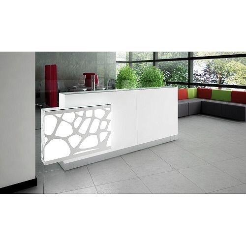 Organic Modern Illuminated White Straight Reception Desk with Right Decorative Element W2700mmxD700mmxH1105mm