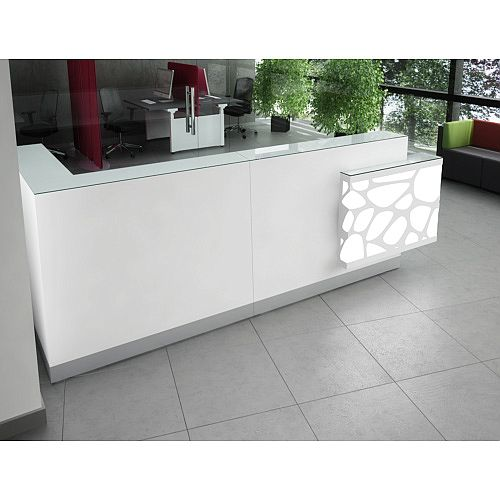 Organic Modern Illuminated White Corner Reception Desk with Right Decorative Element W3100mmxD1370mmxH1105mm