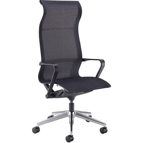 Lola high back designer operators chair with black mesh, black frame and aluminium base