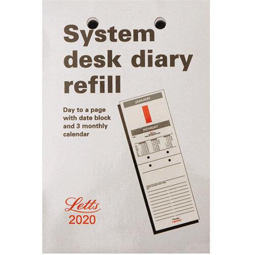 Letts System Desk Calendar Refill 2020 20-TSDR
