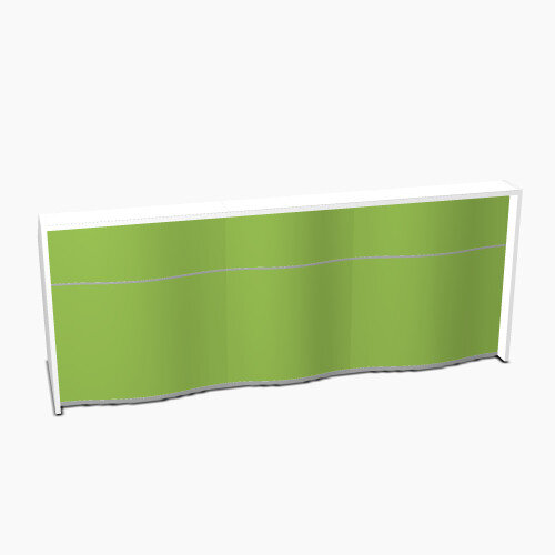 Wave Modern Design Straight Reception Desk with White Counter Top &High Gloss Dark Green Front W2746xD770xH1103mm
