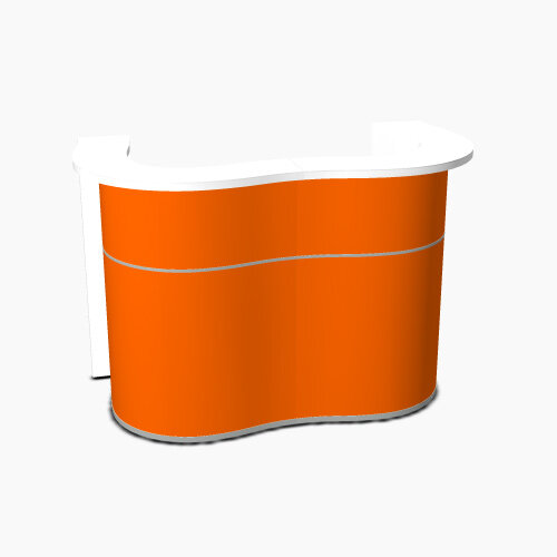 Wave Modern Design Curved Reception Desk with White Counter Top &High Gloss Orange Front W1624xD841xH1103mm