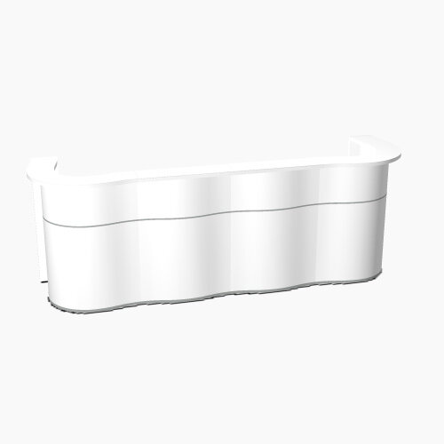Wave Modern Design Curved Reception Desk with White Counter Top &High Gloss White Front W3124xD841xH1103mm