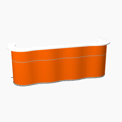 Wave Modern Design Curved Reception Desk with White Counter Top &High Gloss Orange Front W3124xD841xH1103mm