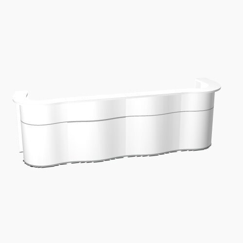 Wave Modern Design Curved Reception Desk with White Counter Top &High Gloss White Front W3564xD841xH1103mm
