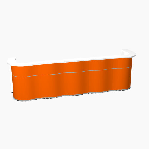 Wave Modern Design Curved Reception Desk with White Counter Top &High Gloss Orange Front W3874xD841xH1103mm