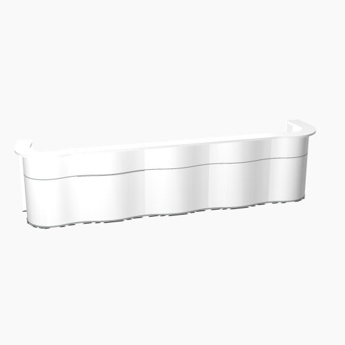 Wave Modern Design Curved Reception Desk with White Counter Top &High Gloss White Front W4534xD841xH1103mm