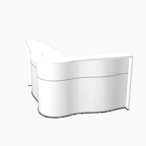 Wave Modern Design Curved Reception Desk with White Counter Top &High Gloss White Front W1810xD1810xH1103mm