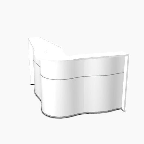 Wave Modern Design Curved Reception Desk with White Counter Top &High Gloss White Front W1810xD1590xH1103mm