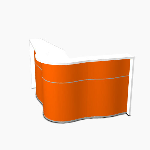 Wave Modern Design Curved Reception Desk with White Counter Top &High Gloss Orange Front W1810xD1590xH1103mm