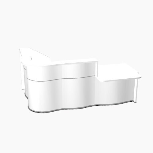Wave Modern Design Curved Reception Desk White Counter Top with Right Low Level Section &High Gloss White Front W2560xD1605xH1103mm