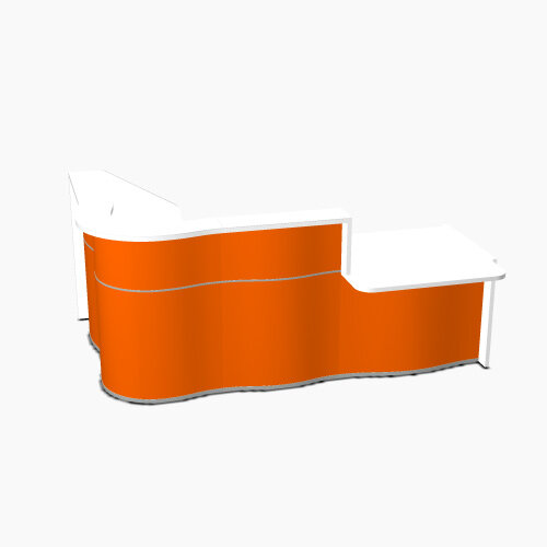 Wave Modern Design Curved Reception Desk White Counter Top with Right Low Level Section &High Gloss Orange Front W2560xD1605xH1103mm