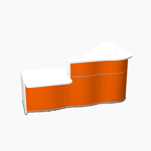 Wave Modern Design Curved Reception Desk White Counter Top with Left Low Level Section &High Gloss Orange Front W2560xD1605xH1103mm