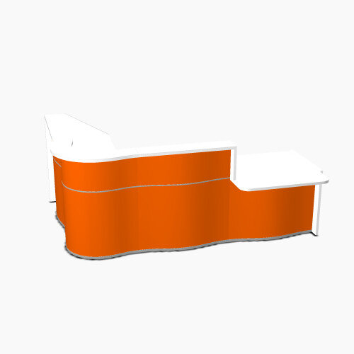 Wave Modern Design Curved Reception Desk White Counter Top with Right Low Level Section &High Gloss Orange Front W2780xD1825xH1103mm