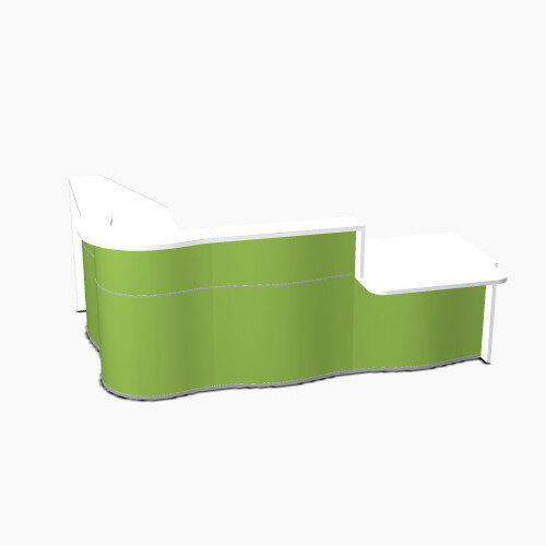 Wave Modern Design Curved Reception Desk White Counter Top with Right Low Level Section &High Gloss Dark Green Front W2780xD1825xH1103mm